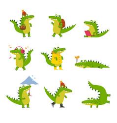 cute cartoon crocodile in every day activities vector image