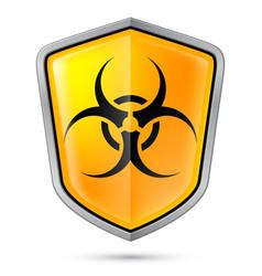 Warning sign on shield indicating of biohazard vector