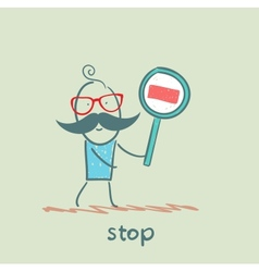 With sign stop vector