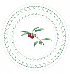 Cherries decorative pattern for plate vector