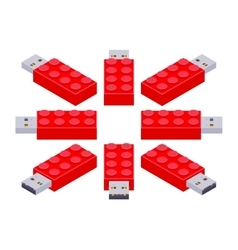 Isometric usb flash-drive in a shape of the vector