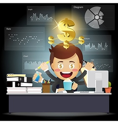 Man with many arms working with data processing vector