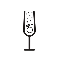 Flat icon in black and white ring champagne glass vector