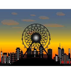 The ferris wheel in the evening time vector