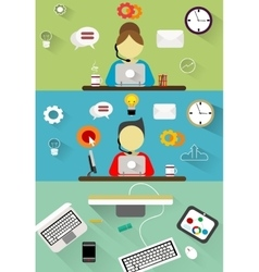 Technical support customer service flat vector