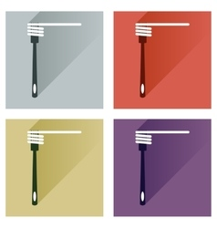 Set flat icons with long shadow spaghetti vector