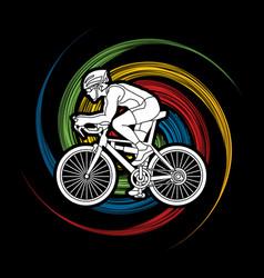 Bicycle racing sport man biking vector