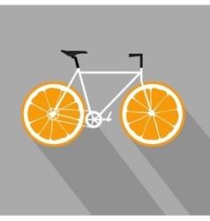 Bicycle with orange fruit wheels flat icon vector
