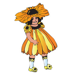 black-eyed susan or rudbeckia hirta girl-flower vector image