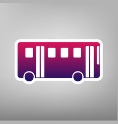 Bus simple sign purple gradient icon on vector