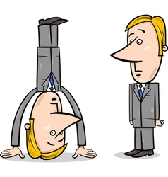 Businessman upside down vector