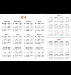 Calendar for 2018 2019 2020 years vector