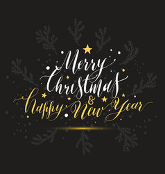 calligraphic text merry christmas happy new year vector image