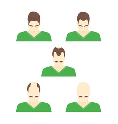 Cartoon stages of hair loss in men vector