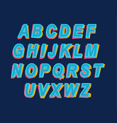 cartoon style colorful alphabet font for party vector image