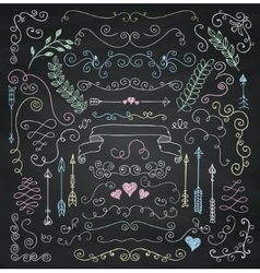 Chalk drawing rustic floral design elements vector