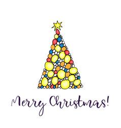 christmas tree merry christmas greeting card vector image vector image