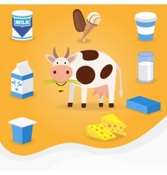 Cow and dairy products icons vector