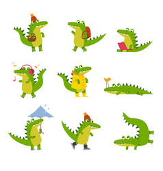 cute cartoon crocodile in every day activities vector image