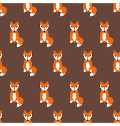 Cute fox seamless pattern on brown background vector