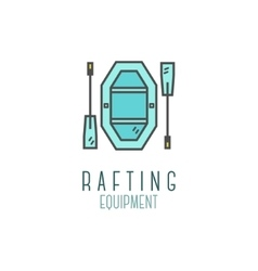 Cute minimal rafting equipment shop icon logo vector