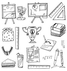 Doodle of school supplies book ruler pen vector