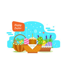 Easter baskets with painted eggs flowers product vector