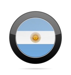 Flag of argentina shiny black round button vector