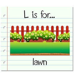 Flashcard letter l is for lawn vector