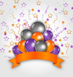 Halloween decoration with balloons confetti and vector