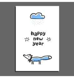Happy new year greeting card with cute cartoon fox vector image vector image