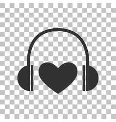Headphones with heart Dark gray icon on vector image vector image