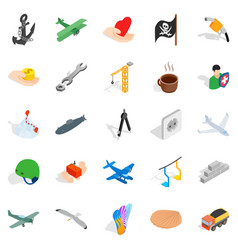 Insurance icons set isometric style vector
