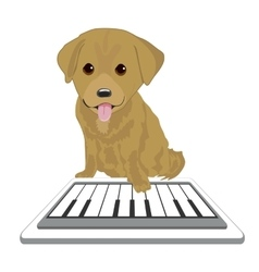 Labrador puppy playing with piano app vector