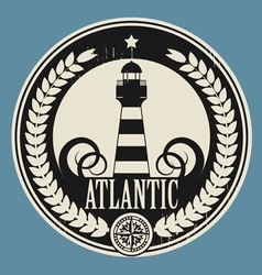 Lighthouse label vector