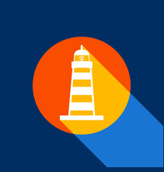 lighthouse sign white icon vector image