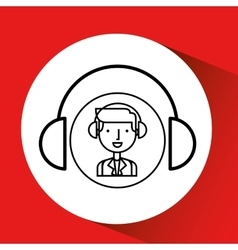 man hand drawing listening music headphones vector image