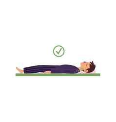 Man lying on his back in healthy sleep position vector