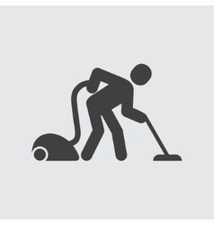 Man with vacuum cleaner icon vector image vector image