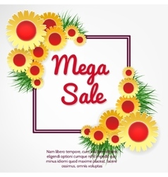 Mega sale banner with flowers vector image vector image
