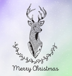 Merry Christmas with reindeer head in frame from vector image vector image