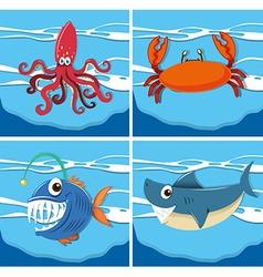 Ocean scene with sea animals underwater vector image