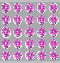 seamless pattern with flowers and swirls on gray vector image vector image