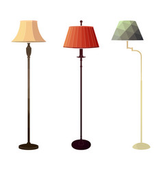 set of retro colored floor lamps vector image