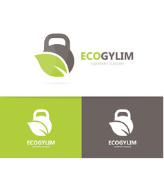 sport and leaf logo combination gym and vector image vector image
