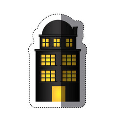 Sticker edifice residence with three floors and vector
