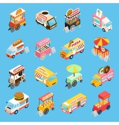 Street food carts isometric icons set vector