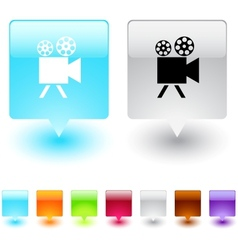 video camera square button vector image vector image