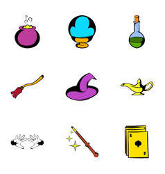 voodoo icons set cartoon style vector image