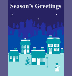 Winter graphic with houses vector